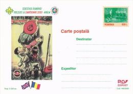 SCOUTING JAMBOREE, THREE SCOUTS CLIMBING WALL, POSTCARD, LUXURY EDITION, 2000, ROMANIA. - Scoutisme