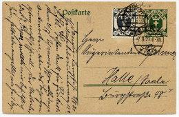 DANZIG 1921 20 Pfg. Postal Stationery Card Used With Additional 20 Pfg. Stamp.  Michel P14 - Danzig