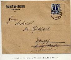 DANZIG 1923 4 Mk With As Single Franking On Envelope.  Michel 123Y EF - Danzig