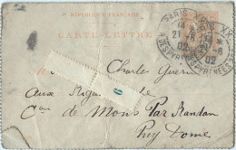 CARTE LETTRE - République Française -  Mouchon 15 C Orange Entier Postal  1902 - 1921-1960: Période Moderne
