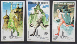 Djibouti Dschibuti 1980 IMPERF NON DENTELE Mi. 273-275 Jeux Olympiques Olympic Games Olympa Moscow Moscou Football Sport - Dschibuti (1977-...)