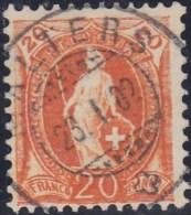 Heimat LU MALTERS 1902-01-23 Vollstempel Auf Zu#66D Orange 20Rp Stehende Helvetia - 1882-1906 Wappen, Stehende Helvetia & UPU