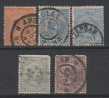 PAYS-BAS - 1891-97 - Obl. - Y&T 34,35,35a,38,42  -  Wilhelmine - Valeur 11€
