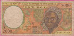 Billet ETATS AFRIQUE CENTRALE - 2.000 Francs Lettre L ( Gabon ) - Pick 403 L A - États D'Afrique Centrale