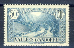 Andorra 1937-43 N. 92 Fr. 50 Azzurro-verde Della Serie Paesaggi MNH € 3 - Andorra Francese