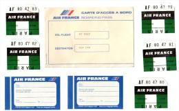 Lot 8 Tickets AIR FRANCE Etiquettes Bagages De 1983 Carte Accès à Bord VOL AT 5027 De 1984 + Autres Plus Anciens A VOIR - Étiquettes à Bagages