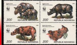 Indonésie 1474/77** Rhinocéros WWF  MNH