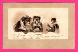 Anthropomorphisme - CPA FANTAISIE FIGURANT UN SINGE GARÇON DE CAFÉ ET DEUX SINGES A TABLES HUMANISES - 1904 - Monos