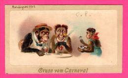 Anthropomorphisme - Gruss Vom Carneval - FANTAISIE FIGURANT UN GARÇON DE CAFÉ ET 2 SINGES A TABLES HUMANISES - 1902 - Monos