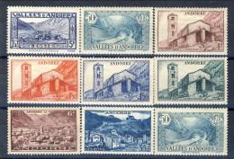Andorra 1937-43 Lotto Di 9 Bolli Della Serie N. 61-92 MNH E MLH Catalogo € 15 - Andorra Francese