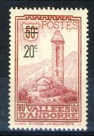 Andorra 1935 N. 46 C. 20 Su C. 50 Vinaccia MH Catalogo € 22 - Andorra Francese