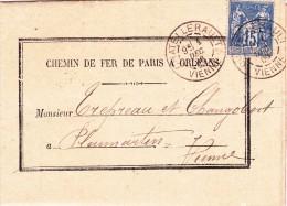 FRANCE @ Enveloppe Lettre Courrier 1 DEC 1886 Chemin De Fer Paris à Orléans Mr Changobert De Pleumartin - Timbre Sage - Postmark Collection (Covers)