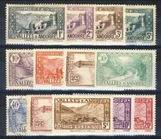 Andorra 1932-33 Lotto Di 17 Bolli Della Serie N. 61-92 Paesaggi MNH E MH Catalogo € 13 - Andorra Francese