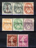 Andorra 1931 Francobolli Di Francia Sovrastampati Lotto Di 8 Bolli Della Serie N. 1 - 20  MLH Catalogo € 26 - Andorra Francese