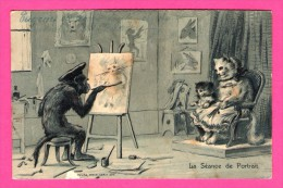 Anthropomorphisme - Carte Gaufrée - Relief - La Séance De Portrait - Singe Et Chats - K.F. - 1905 - Monos