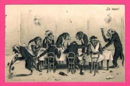 Anthropomorphisme - Carte Gaufrée - Relief - Le Toast - Singes - K.F. - 1904 - Monos