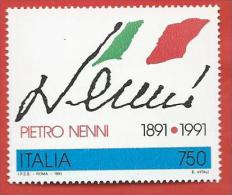 ITALIA REPUBBLICA MNH - 1991 - Centenario Della Nascita Di Pietro Nenni - £ 750 - S. 1981 - 6. 1946-.. Repubblica