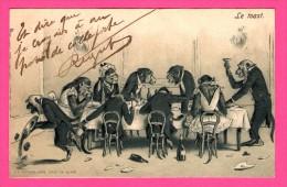 Fantaisie - Anthropomorphisme - Carte Gaufrée - Relief - Le Toast - Singe - 1904 - Animaux Habillés