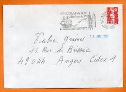 54 ST NICOLAS DU PORT SA BASILIQUE DU XVI   15 / 7 / 1991 Lettre Entière N° Q 887 - Marcophilie (Lettres)