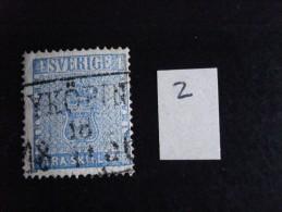 Suède - Année 1855 - 4s Bleu - Y.T. N° 2 - Oblitéré - Used - Gestempeld - Usati