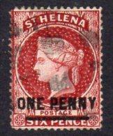 St. Helena QV 1864-80 ONE PENNY Surcharge, Perf. 14, Used (SG27) - Saint Helena Island