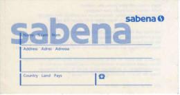 Etiquette Auto-collante SABENA Pour Bagages - Titres De Transport