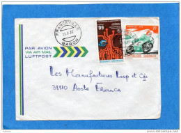 MARCOPHILIE-lettre-Gabon>Françe  -cad-Franceville 1977-2-stamps N°372 Télécom+363 Moto-kawasaki- - Gabun (1960-...)
