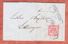 Kompletter Faltbrief, Wappen, Per Bahnpost Heidelberg-Basel, Carlsruhe Nach Ettlingen 1867 (90394) - Bade
