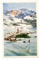 Cortina D'Ampezzo Hotel Croce Bianca Illustration Carte D'Hotel - Italie