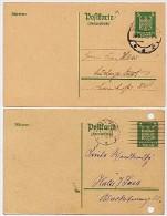 DR  P158 IA  2 Antwort-Postkarten Gera +  Ludwigslust 1924-25  Kat. 14,00 € - Deutschland