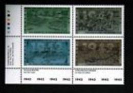 CANADA 1992  # 1451a, MF  MNH, SECOND WORLD WAR---1942  LL Block   Medium Uorescent - Blocks & Sheetlets