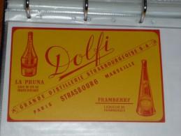 BUVARD Publicitaire  BLOTTING PAPER   - DOLFI      LA PRUNA Et FAMBERRY - Paris - Strasbourg - Marseille - Softdrinks