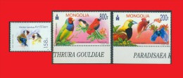 Antilles Hol. 2008 - Mongolie 2012, Goldfinch - Chardonneret / Gouldian Finch - Amandine / Tisserin - Red Bishop MNH ** - Songbirds & Tree Dwellers