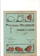 Protège Cahier Pharmacie DELABRIERE à Cosne Sur Loir Spécialiés Vétérinaires( Cher) Des Années 1960 Environ Couleur Vert - Protège-cahiers