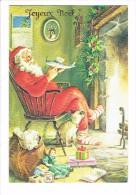 Carte Fantaisie - Joyeux Noel - Père Noël Cadeaux Avion Chat Cloche Clochette Poupée Sac Courriers Houx - ESP PARIS - Noël