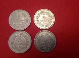 Lot De 4 Pieces 5F LAVRILLIER TTB ( Voir Scan ET Détail - Coins & Banknotes