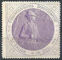 """Vignette  """"Eidgenössisches Schützenfest St.Gallen""""            1904 - Svizzera"""