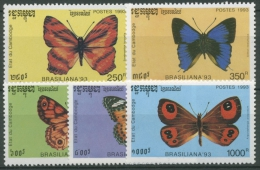 Kambodscha 1993 Briefm.-Ausstell. BRASILIANA '93 Schmetterlinge 1354/58 Postfr. - Cambodia