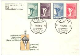 LITUANIA - Lituanie - Lietuva - Lithuania - 1990 - Angel Of Peace Not Perfored - Registered FDC - Kaunas - Lithuania