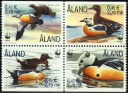 WWF-BIRDS-STELLER'S EIDER-BOOKLET PANE-SETENANT BLOCK OF 4-ALAND-2001-MNH-B3-211 - W.W.F.