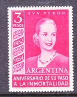 ARGENTINA  626    *   EVA  PERON  Wmk. 288  STRIGHT  SUN RAYS - Unused Stamps