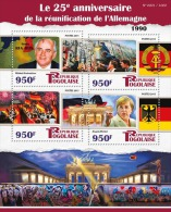 TOGO 2015 ** 25 Years Reunification Germany M. Gorbachev A. Merkel M/S - OFFICIAL ISSUE - A1552 - Celebrità