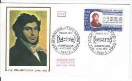 FDC Enveloppe Et CPSM  Champollion - 1970-1979