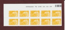 208  De  2008 - (4226) -neuf ** BLOC BANDE COIN DATE & Nté.. De 10 Timbres. Adhésif  Marianne.Beaujard .  0.01€ . Jaune - 2008-13 Marianne De Beaujard
