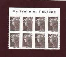 "209 De 2008 - (4227) - Neuf ** Adhésif.   ""MARIANNE ET L´EUROPE""  Bloc  De 8 Timbres - Marianne De  Beaujard De 5c. - Autoadesivi"