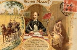 Hector MALOT Belle Carte Illustrée Couleur Chocolat LOMBART - Ecrivains