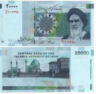 "IRAN  20'000  Rials  Smaller  Khomeini Portrait   P148b   "" Back As P147  ""       UNC - Irán"