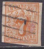 HAMBURG 1859 Freimarken. Wertangabe Im Hamburger Wappen 7 Schilling Orange Geschnitten Michel 6 - Hamburg