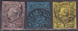 SACHSEN 1855 Freimarken. König Johann I 1-2-3 Ngr. Michel 9 -10 - 11 - Saxony