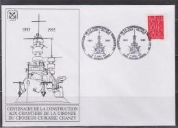 Centenaire Construction Cuirassé Chanzy à Bordeaux 33998 Bordeaux Armées 16-17.4.93 N°2775 CP Le Croiseur Cuirassé - Commemorative Postmarks